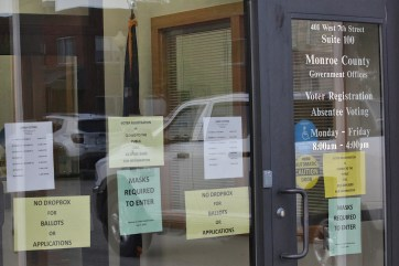 The door to Monroe County's Election Central as it appeared on Sept. 23, 2020.