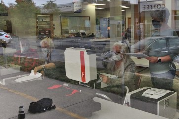 The view through the window of Election Central during the logic and accuracy test conducted on Sept. 23, 2020.