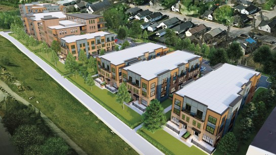 Renderings showing a view of the proposed project looking southwest, with the townhome buildings in the foreground.