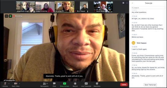 Screen shot of Dec. 21, 2020 Bloomington redevelopment commission Zoom video conference meeting.