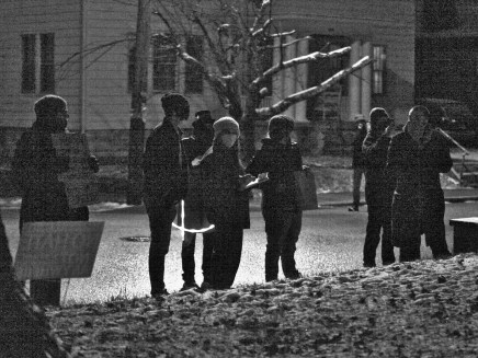 A group of advocates for the homeless community in front of Bloomington mayor John Hamilton's house on Jan. 17, 2021.