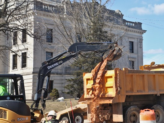 A CBU crew repairs a water main break on Walnut Street across from the Monroe County courthouse on Thursday, Feb. 25, 2021.