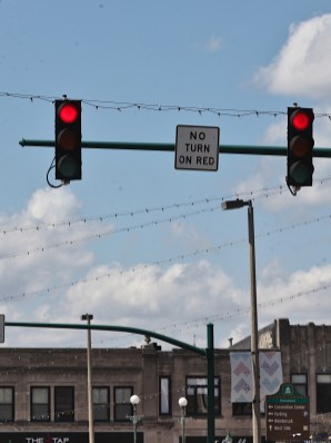 """An existing """"No Turn on Red"""" location on Kirkwood Avenue at Walnut Street, looking west. You can't turn north on red."""