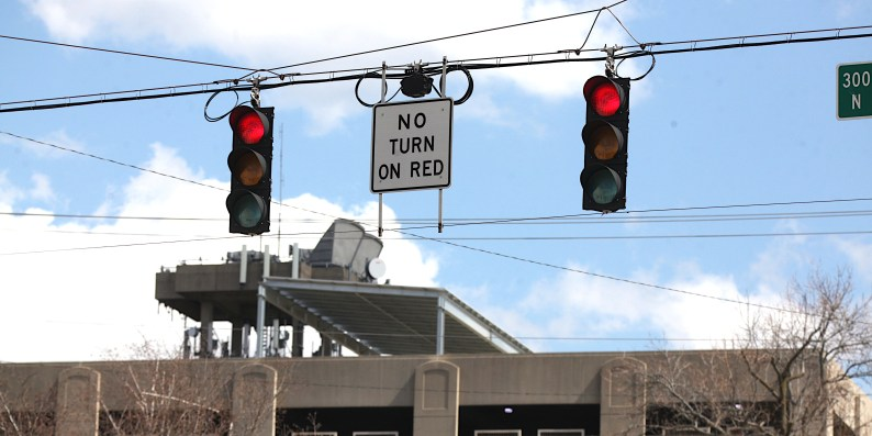 """An existing """"No Turn on Red"""" location on 7th Street at College Avenue, looking east. You can't turn south on red."""