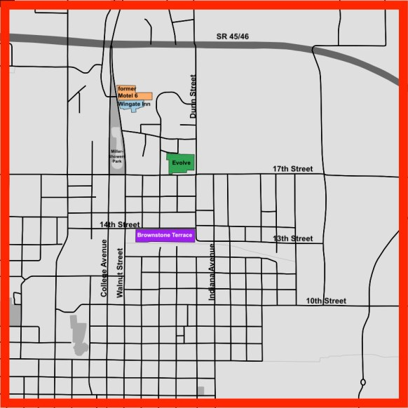 The parcels shown in orange, green and purple indicate other significant multi-family housing developments approved in the last 18 months, near the Indiana University campus.