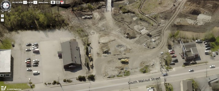 Aerial image of 1730 S. Walnut is from the Pictometry module of the Monroe County property lookup system. The date of the image is April 2020.