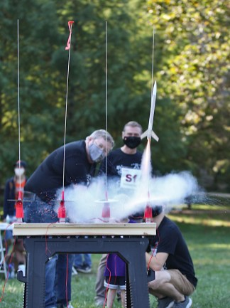 Launching his rocket was Tommy Rasmusson. (Science Fest Oct. 9, 2021)