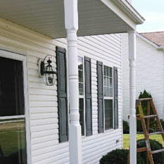 picture of a soffit and siding job done by brightside restoration in medina ohio