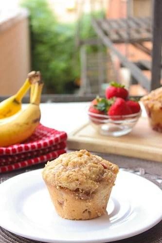 Strawberry Banana Cake Muffins