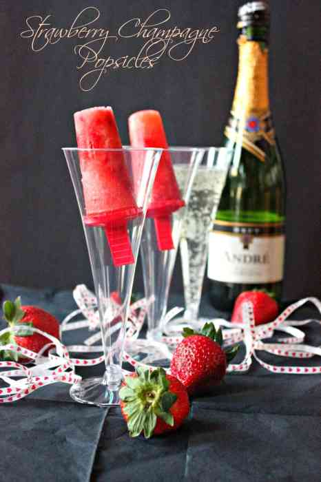 SAtrawberry Champagne Popsicles