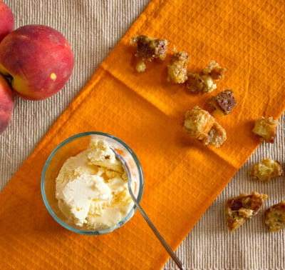 Peach Sundaes with Caramel Croutons