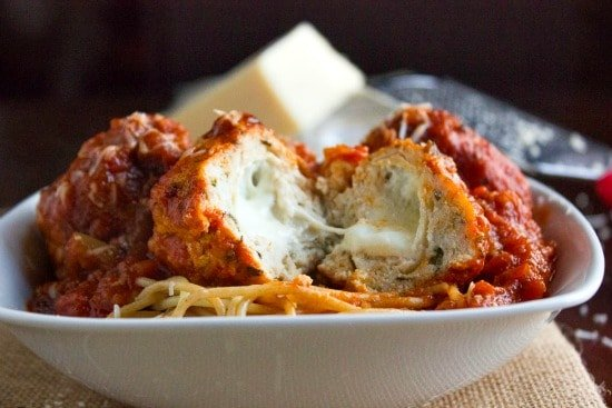 Mozarella Stuffed Turkey Meatballs