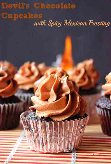 Devils Chocolate Cupcakes with Spicy Mexican Frosting
