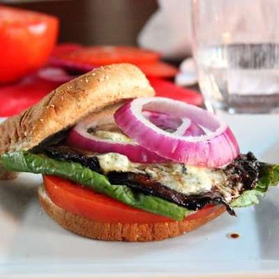 Portobello Mushroom Black and Blue Burger