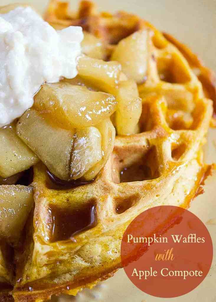 Pumpkin Waffle with Apple Compote