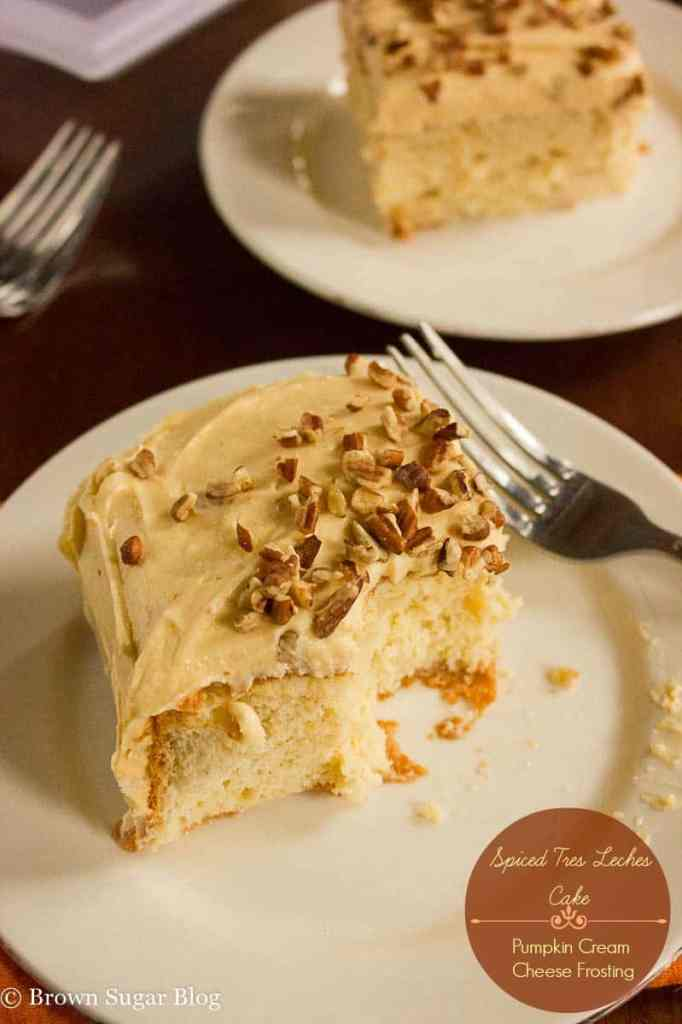 Spiced Tres Leches Cake with Pumpkin Cream Cheese Frosting
