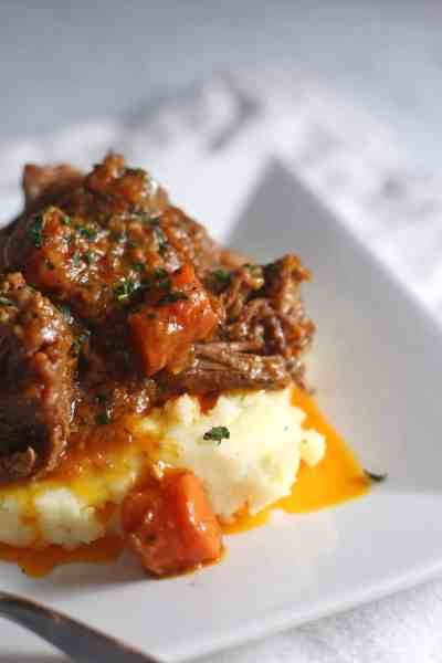 Braised Short Ribs with White Cheddar Mashed Potatoes