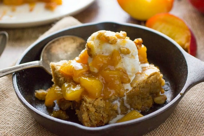 The Best Blondies Recipe with Peach Compote