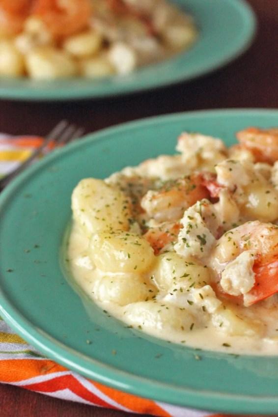 Seafood Gnocchi in a White WIne Cream Sauce