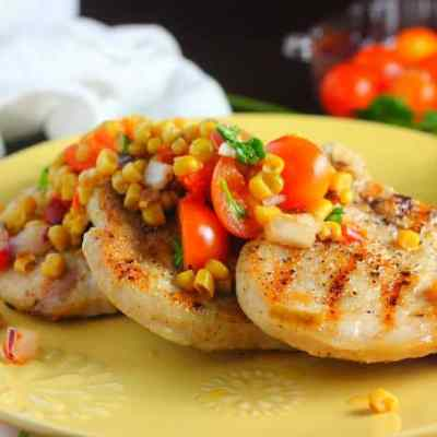 Grilled Pork Chops with Corn & Tomato Salsa