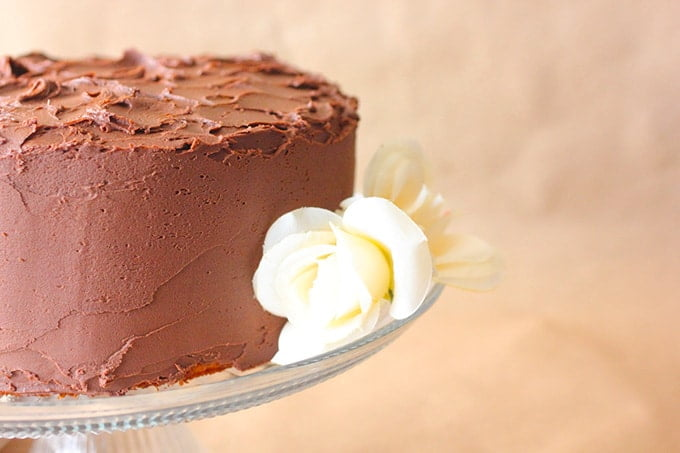 Vanilla Pudding Cake with Chocolate Frosting
