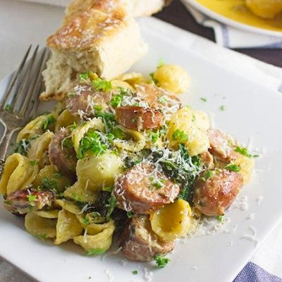 Orecchiette Pasta Dish with Chicken Sausage & Kale
