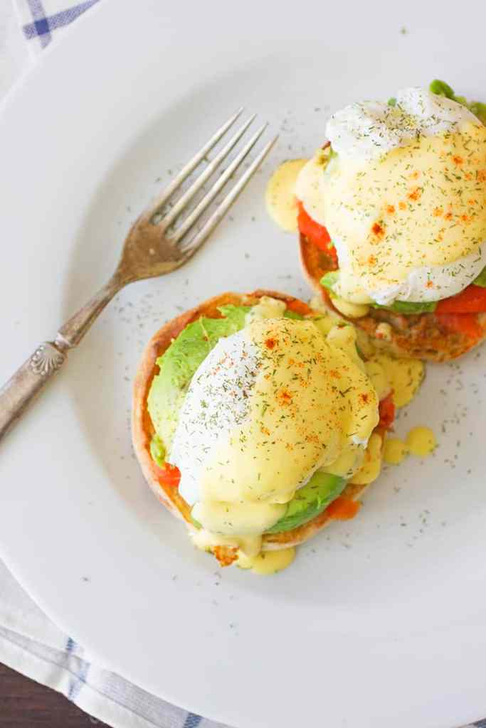 Salmon and Avocado Eggs Benedict