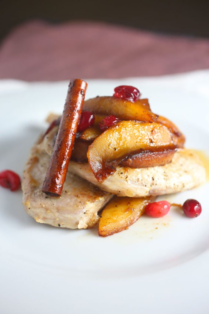 Pan Fried Pork Chops with Apple and Cranberry Topping