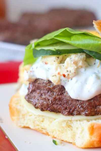 Grilled Greek Burgers with Tzatziki Sauce