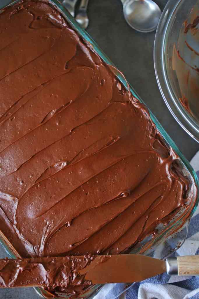 Yellow Sheet Cake with Chocolate Buttercream Frosting
