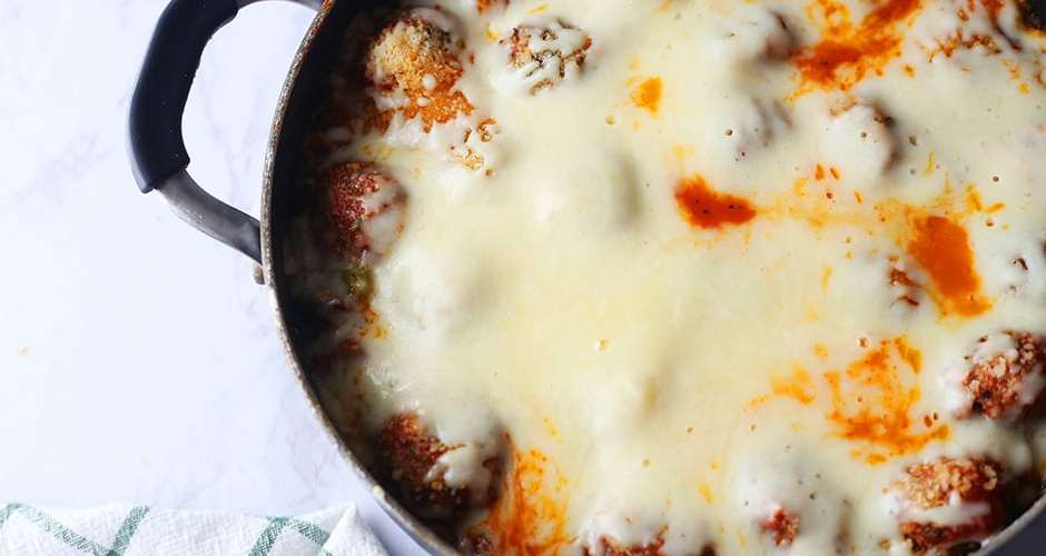 One-Pan Meatball Pizza Skillet Dish