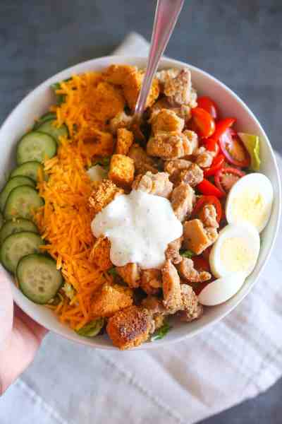 Buttermilk Fried Chicken Salad with Cornbread Croutons
