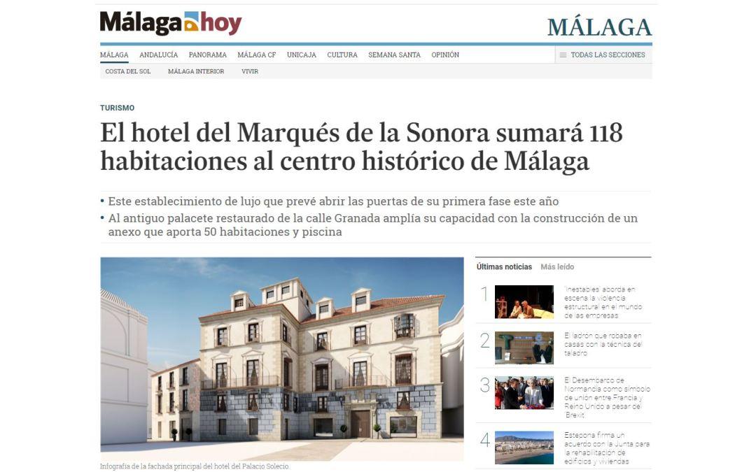 El hotel del Marqués de la Sonora, rehabilitado por B/SV Arquitectos, en el diario Málaga Hoy