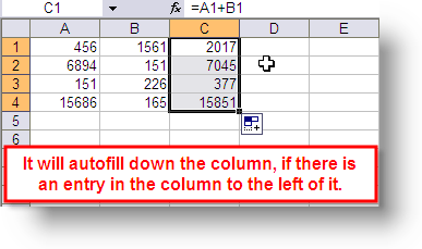 How to do an autofill in Excel - screen 4