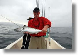 A Dana Point bonito, caught under typical June Gloom skies (courtesy Bryan Webb)
