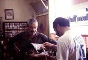 The late Ned Grey helping a customer at Sierra Tackle, one of the early LA fly shops