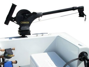 Cannon Downrigger on rod-holder platform mount