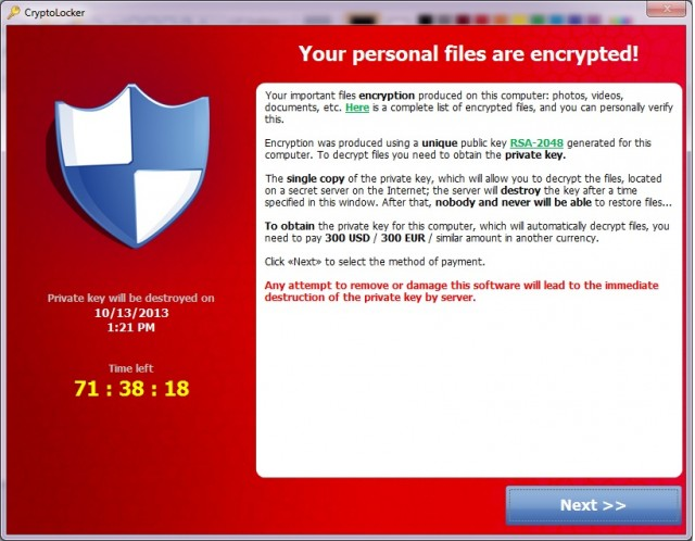 CryptoLocker malware demands bitcoin ransom
