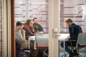 A team of bioengineering researchers meet in the IRIC. Photo by University of Idaho Photo Service.