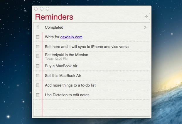 Обновление списков дел и напоминаний на рабочем столе Mac OS X с iPhone