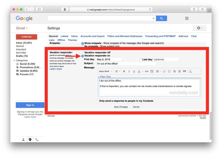 Как установить автоматический ответчик на время отпуска в Gmail