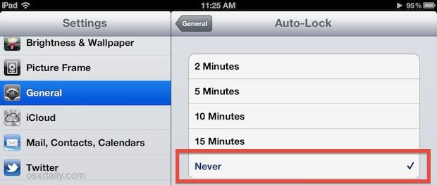 Отключить автоматическое затемнение или блокировку экрана iPad