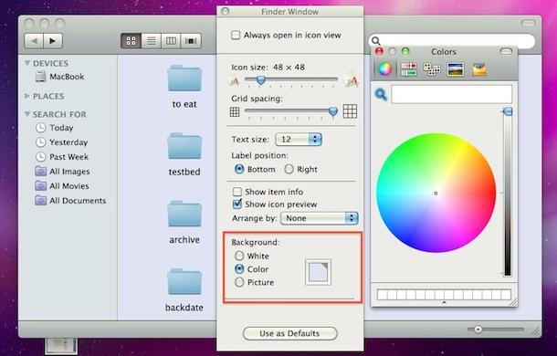 Настройка фона окна Mac Finder
