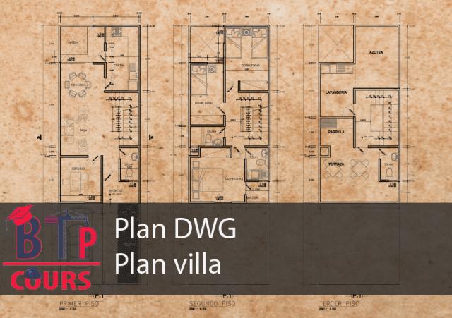 plan architecture DWG sur BTP-COURS
