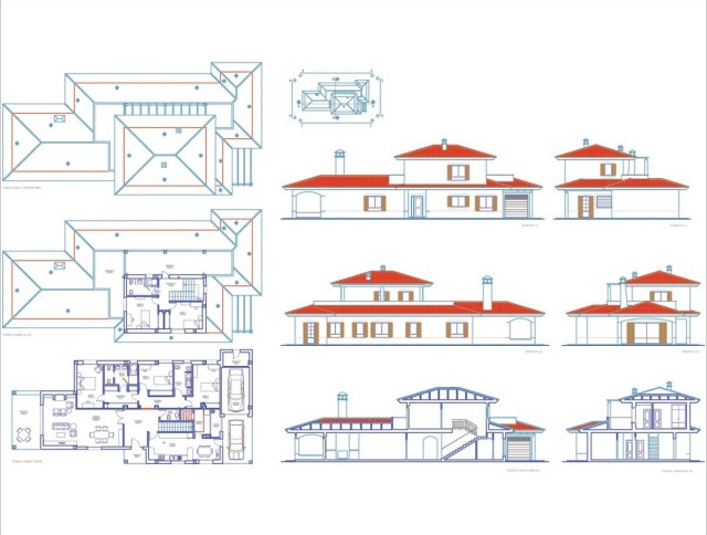 plan archi avec plan RDC, plan Étage, Toiture Terrasse, plans des façades, coupes ...