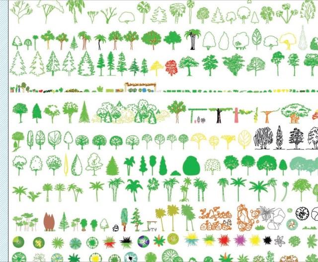 bibliothèque, DWG, plante, arbre, arbuste, rose, gazon...