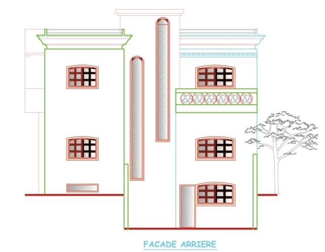plan, façade, arrière