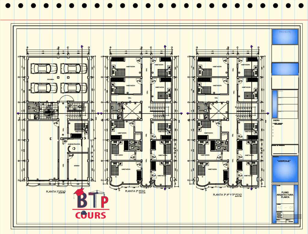 Plan R+5 Complet en DWG (vuen en plan)