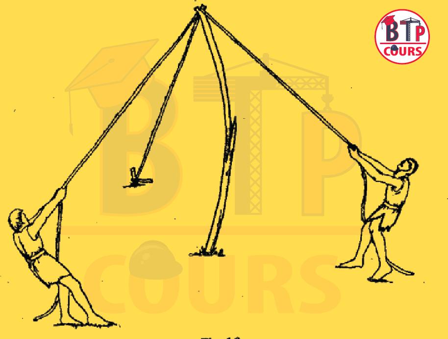 construction échafaudages en piquets et ficelles