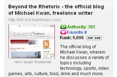 Beyond the Rhetoric Cracks Technorati Top 10K
